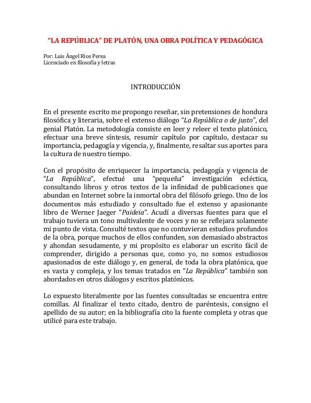 La republica de platon una obra politica y pedagogica - Republica de las ideas ...