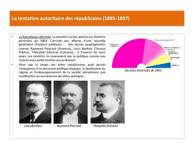 La  tenta)on  autoritaire  des  républicains  (1885-‐1897)   • La  République  refermée:  La  quesCo...