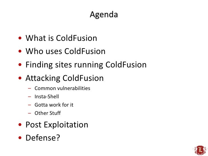 ColdFusion for Penetration Testers Slide 3