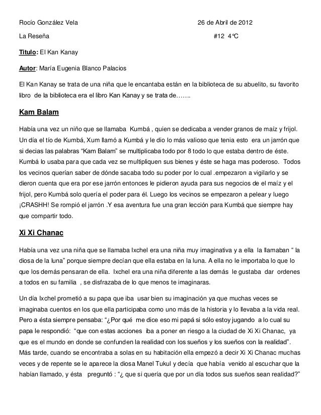 Rocío González Vela                                              26 de Abril de 2012La Reseña                             ...