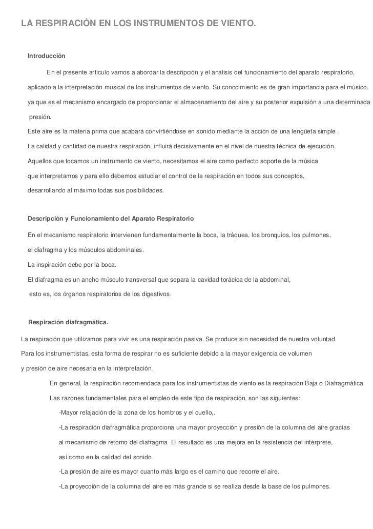 LA RESPIRACIÓN EN LOS INSTRUMENTOS DE VIENTO.Introducción           En el prese...