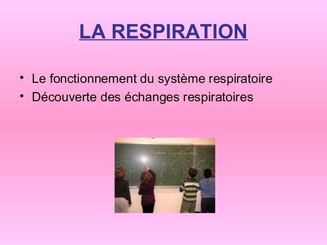 LA RESPIRATION• Le fonctionnement du système respiratoire• Découverte des échanges respiratoires