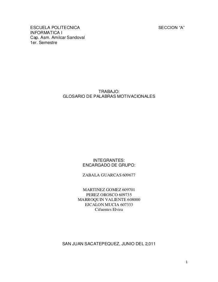 "ESCUELA POLITECNICA                                                             SECCION ""A""<br />INFORMATICA I<br />Cap. A..."