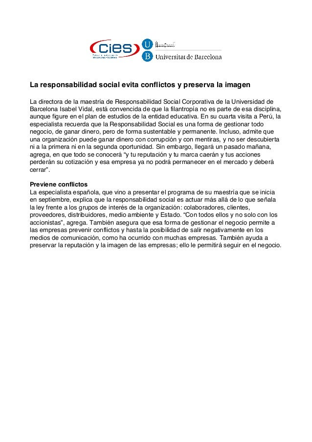 La responsabilidad social evita conflictos y preserva la imagenLa directora de la maestría de Responsabilidad Social Corpo...