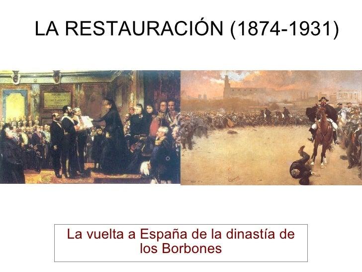 LA RESTAURACIÓN (1874-1931) La vuelta a España de la dinastía de los Borbones