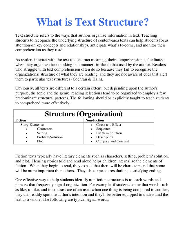 Non fiction text structure worksheets