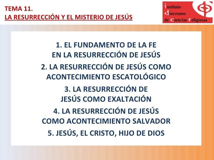 TEMA 11.LA RESURRECCIÓN Y EL MISTERIO DE JESÚS               1. EL FUNDAMENTO DE LA FE              EN LA RESURRECCIÓN DE ...