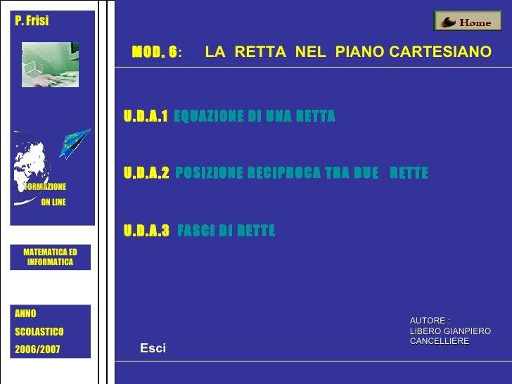 P. Frisi FORMAZIONE ON LINE  MOD. 6 :   LA  RETTA  NEL  PIANO CARTESIANO AUTORE : LIBERO GIANPIERO CANCELLIERE MATEMATICA ...