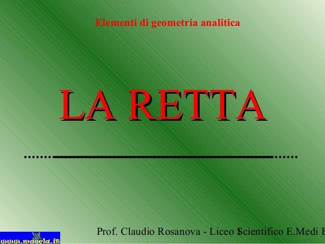 Prof. Claudio Rosanova - Liceo Scientifico E.Medi B1 LA RETTALA RETTA Elementi di geometria analitica