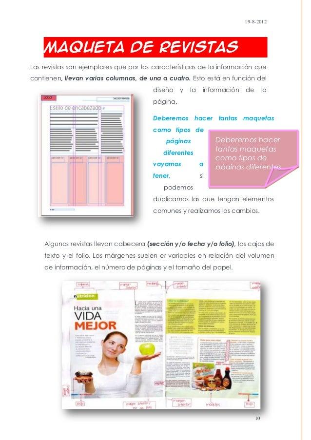 19-8-2012    Maqueta de RevistasLas revistas son ejemplares que por las características de la información quecontienen, ll...