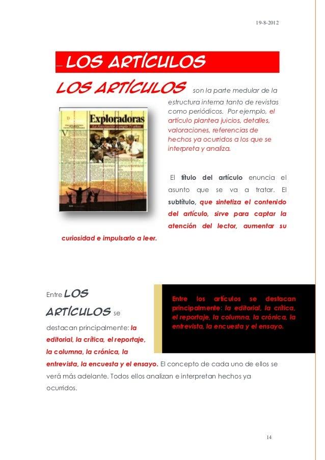19-8-2012       Los Artículos   Los artículos                                son la parte medular de la                   ...