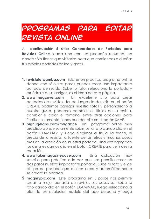 19-8-2012Programas                      para            editarrevista OnlineA    continuación 5 sitios Generadores de Port...
