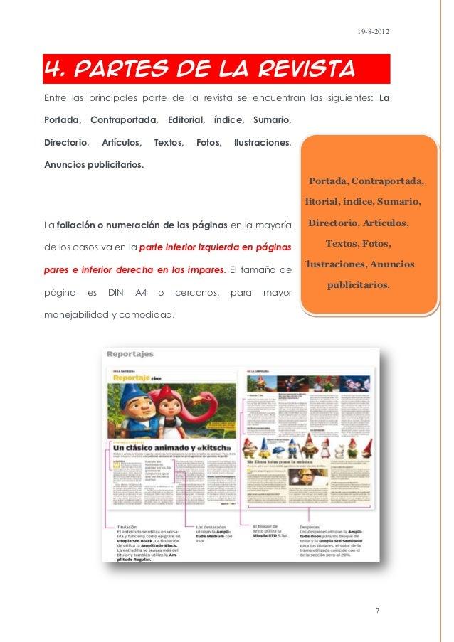 19-8-20124. Partes de la RevistaEntre las principales parte de la revista se encuentran las siguientes: LaPortada, Contrap...