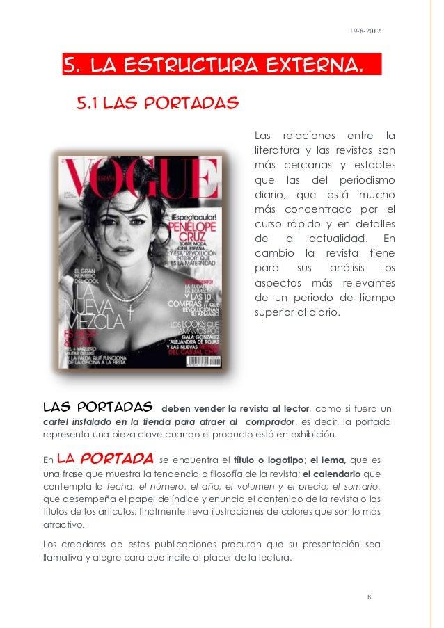 19-8-2012     5. La Estructura Externa.        5.1 Las Portadas                                                   Las rela...