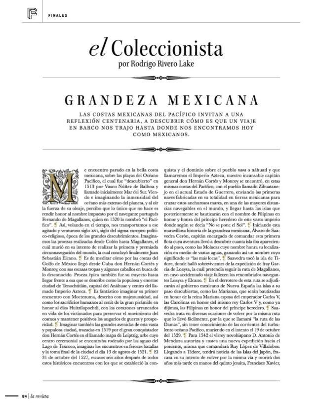 F  FINALES  el Coleccionista  por Rodrigo Rivero Lake  GRANDEZA     MEXICANA  LAS COSTAS MEXICANAS DEL PAClFICO INVITAN A ...