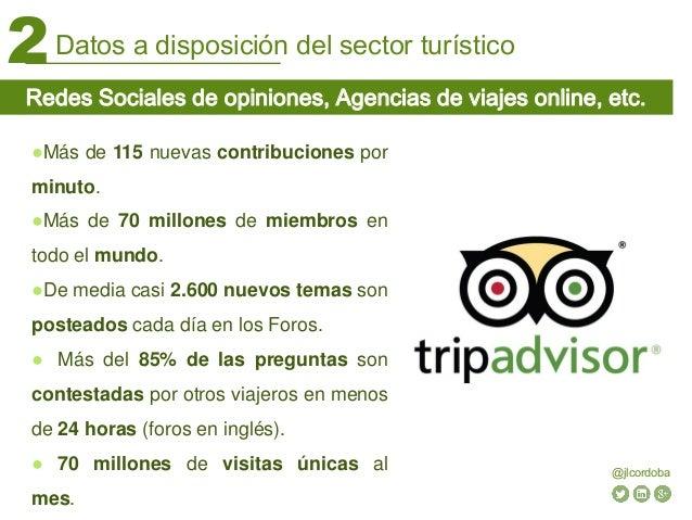 Datos a disposición del sector turístico2 @jlcordoba Redes Sociales de opiniones, Agencias de viajes online, etc. ●Más de ...