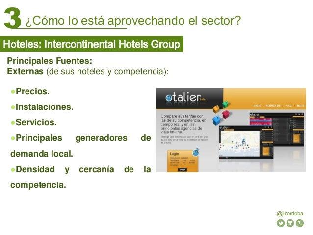 ¿Cómo lo está aprovechando el sector?3 @jlcordoba Principales Fuentes: Externas (de sus hoteles y competencia): ●Precios. ...