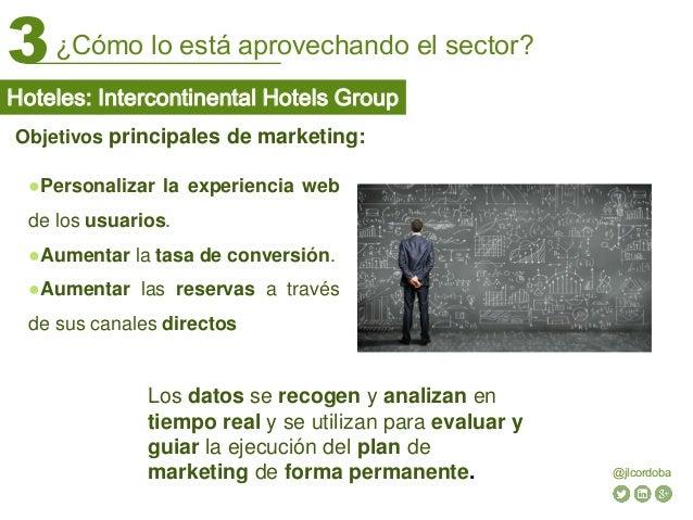 ¿Cómo lo está aprovechando el sector?3 @jlcordoba Objetivos principales de marketing: ●Personalizar la experiencia web de ...