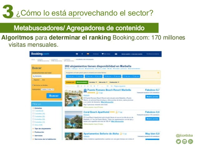 ¿Cómo lo está aprovechando el sector?3 @jlcordoba Algoritmos para determinar el ranking Booking.com: 170 millones visitas ...