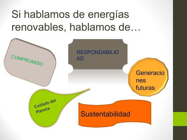 Si hablamos de energías renovables, hablamos de… COMPROMISO RESPONDABILID AD Sustentabilidad Cuidado del Planeta Generacio...