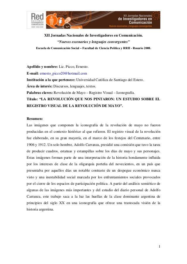 """1XII Jornadas Nacionales de Investigadores en Comunicación.""""Nuevos escenarios y lenguajes convergentes""""Escuela de Comunica..."""