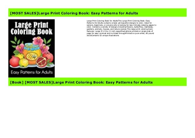 Most Sales Large Print Coloring Book Easy Patterns For Adults