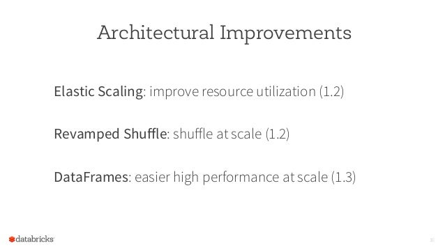 Architectural Improvements Elastic Scaling: improve resource utilization (1.2) Revamped Shuffle: shuffle at scale (1.2) Data...