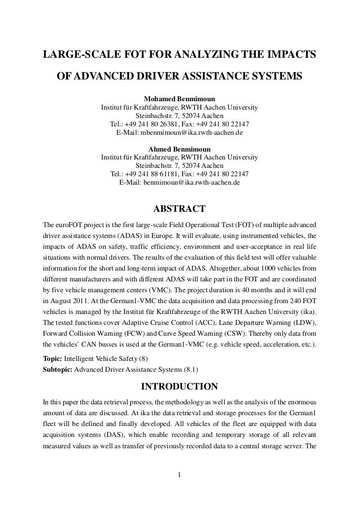 Large-scale field operational test for analyzing the impacts of advanced driver assistance systems, Mohamed Benmimoun, ika...