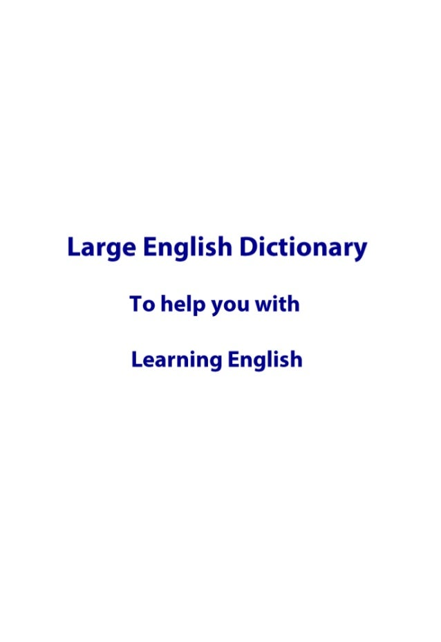 Large English dictionary free to download PDF