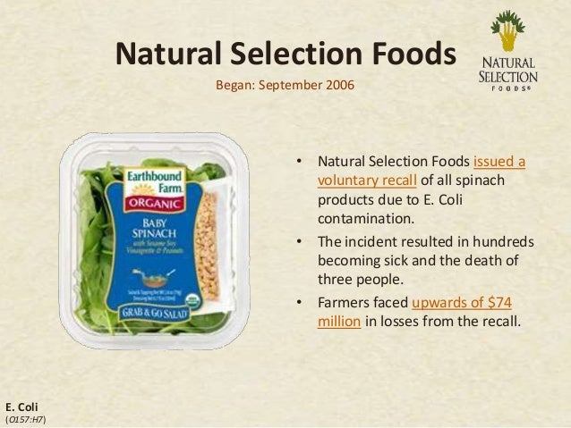 Natural Selection Foods Spinach Recall