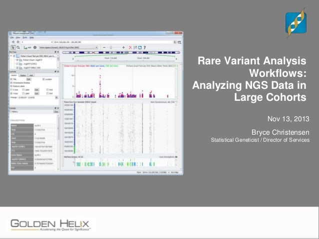 Rare Variant Analysis Workflows: Analyzing NGS Data in Large Cohorts Nov 13, 2013 Bryce Christensen Statistical Geneticist...