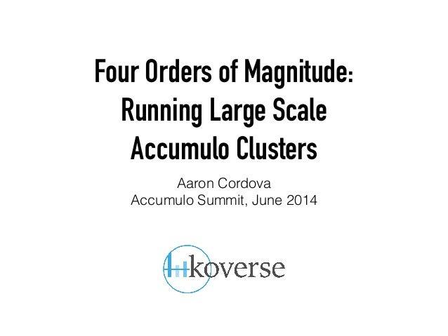 Four Orders of Magnitude: Running Large Scale Accumulo Clusters Aaron Cordova Accumulo Summit, June 2014
