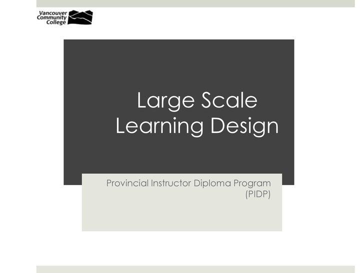 Large Scale Learning Design<br />Provincial Instructor Diploma Program (PIDP)<br />