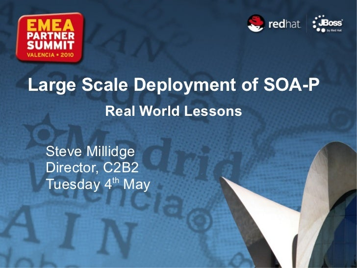 Large Scale Deployment of SOA-P Real World Lessons Steve Millidge Director, C2B2 Tuesday 4 th  May