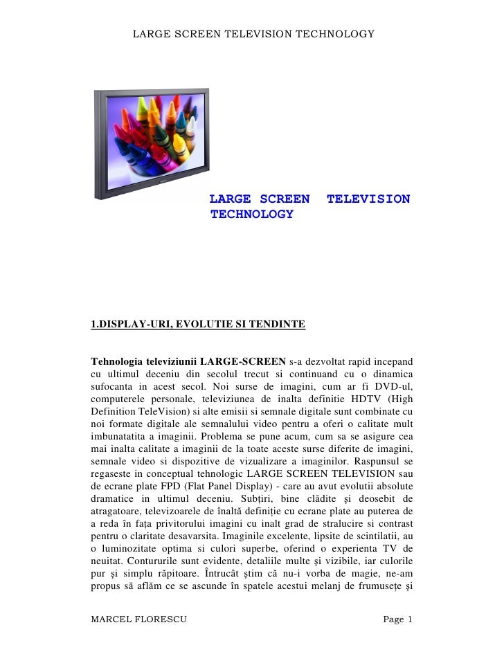 LARGE SCREEN TELEVISION TECHNOLOGY                                  LARGE SCREEN                TELEVISION                ...