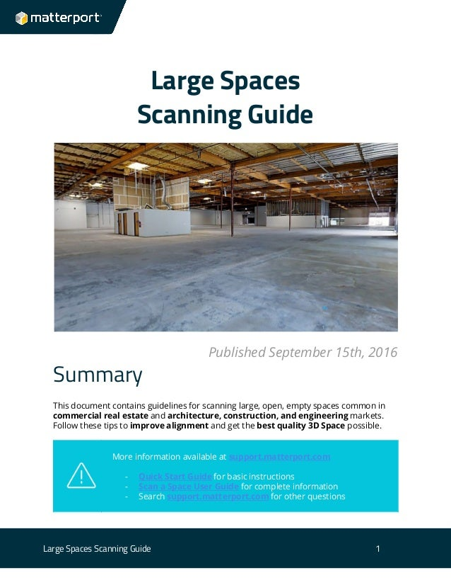 Large spaces scanning guide