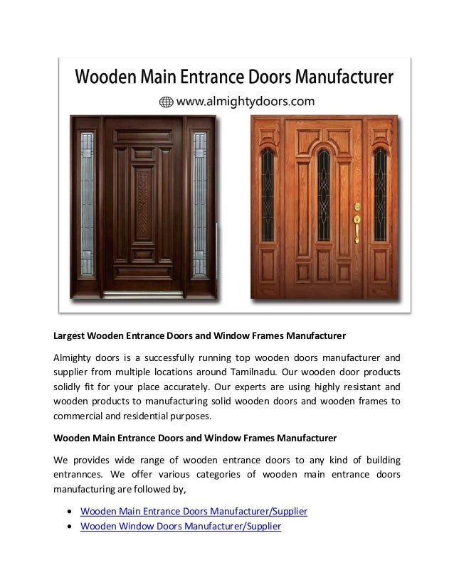 Largest wooden entrance doors and window frames manufacturer