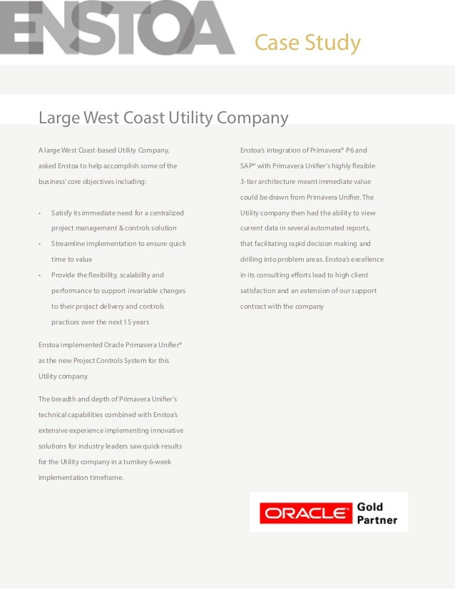 A large West Coast-based Utility Company, asked Enstoa to help accomplish some of the business'core objectives including: ...