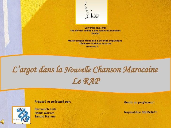 Université Ibn Tofail Faculté des Lettres & des Sciences Humaines Kénitra Master Langue Française & Diversité Linguistique...