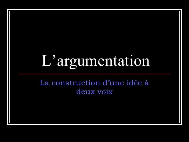 L'argumentation La construction d'une idée à deux voix