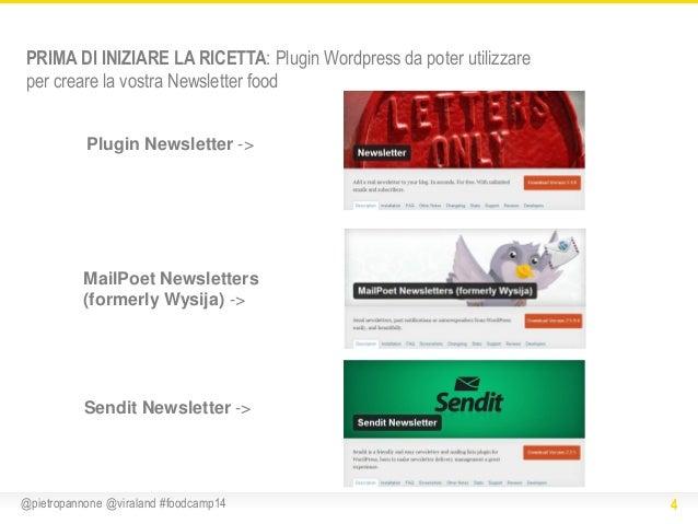 PRIMA DI INIZIARE LA RICETTA: Plugin Wordpress da poter utilizzare per creare la vostra Newsletter food Plugin Newsletter ...