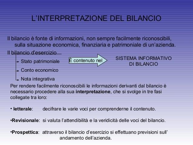 L'INTERPRETAZIONE DEL BILANCIOIl bilancio è fonte di informazioni, non sempre facilmente riconoscibili,sulla situazione ec...