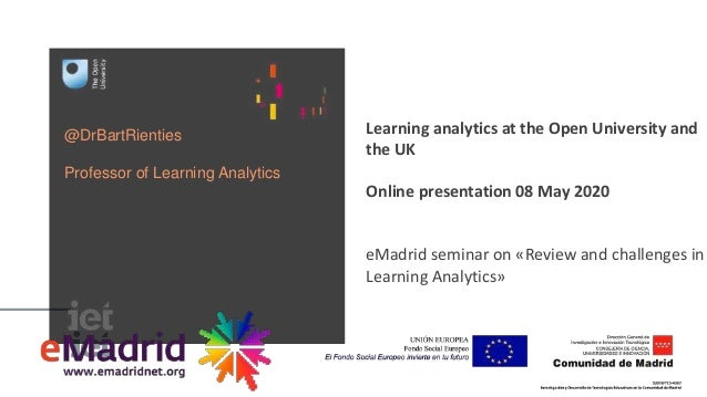 @DrBartRienties Professor of Learning Analytics Learning analytics at the Open University and the UK Online presentation 0...