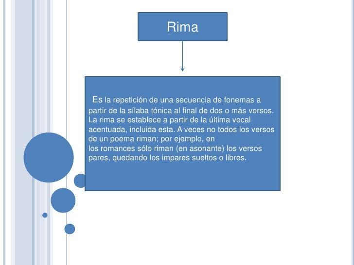 Rima Es la repetición de una secuencia de fonemas apartir de la sílaba tónica al final de dos o más versos.La rima se esta...