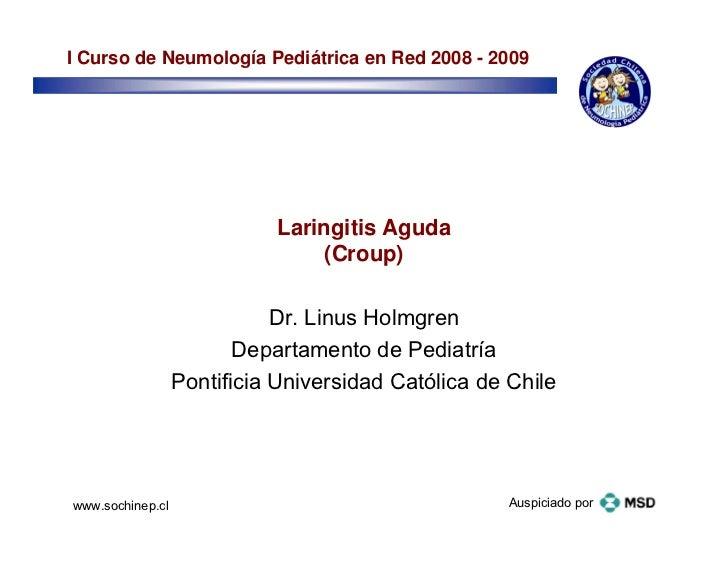 I Curso de Neumología Pediátrica en Red 2008 - 2009                            Laringitis Aguda                           ...