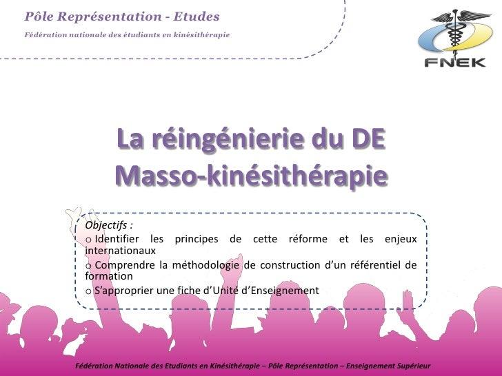 Pôle Représentation - EtudesFédération nationale des étudiants en kinésithérapie                      La réingénierie du D...