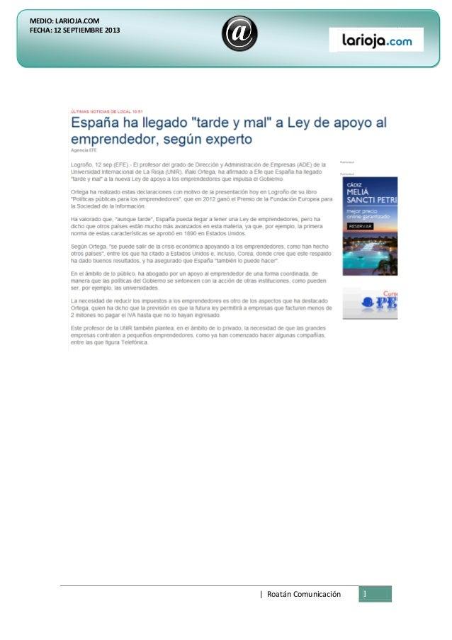 | Roatán Comunicación 1 MEDIO: LARIOJA.COM FECHA: 12 SEPTIEMBRE 2013