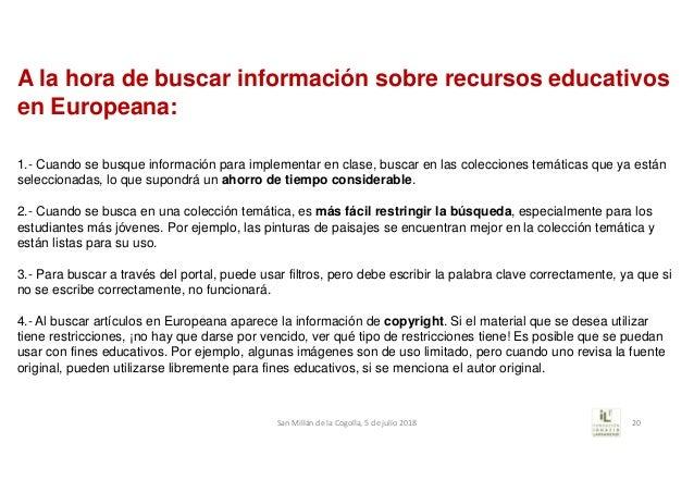1.- Cuando se busque información para implementar en clase, buscar en las colecciones temáticas que ya están seleccionadas...