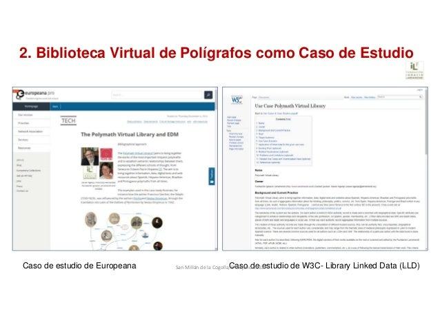 2. Biblioteca Virtual de Polígrafos como Caso de Estudio Caso de estudio de Europeana Caso de estudio de W3C- Library Link...