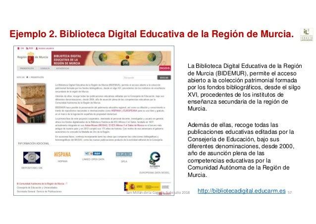 Ejemplo 2. Biblioteca Digital Educativa de la Región de Murcia. La Biblioteca Digital Educativa de la Región de Murcia (BI...